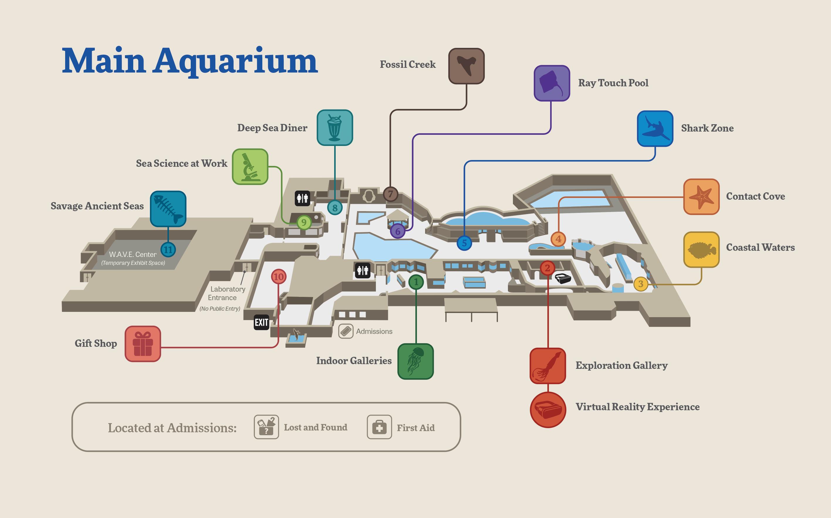 Mote Aquarium Visitor Map - Main Aquarium Floorplan