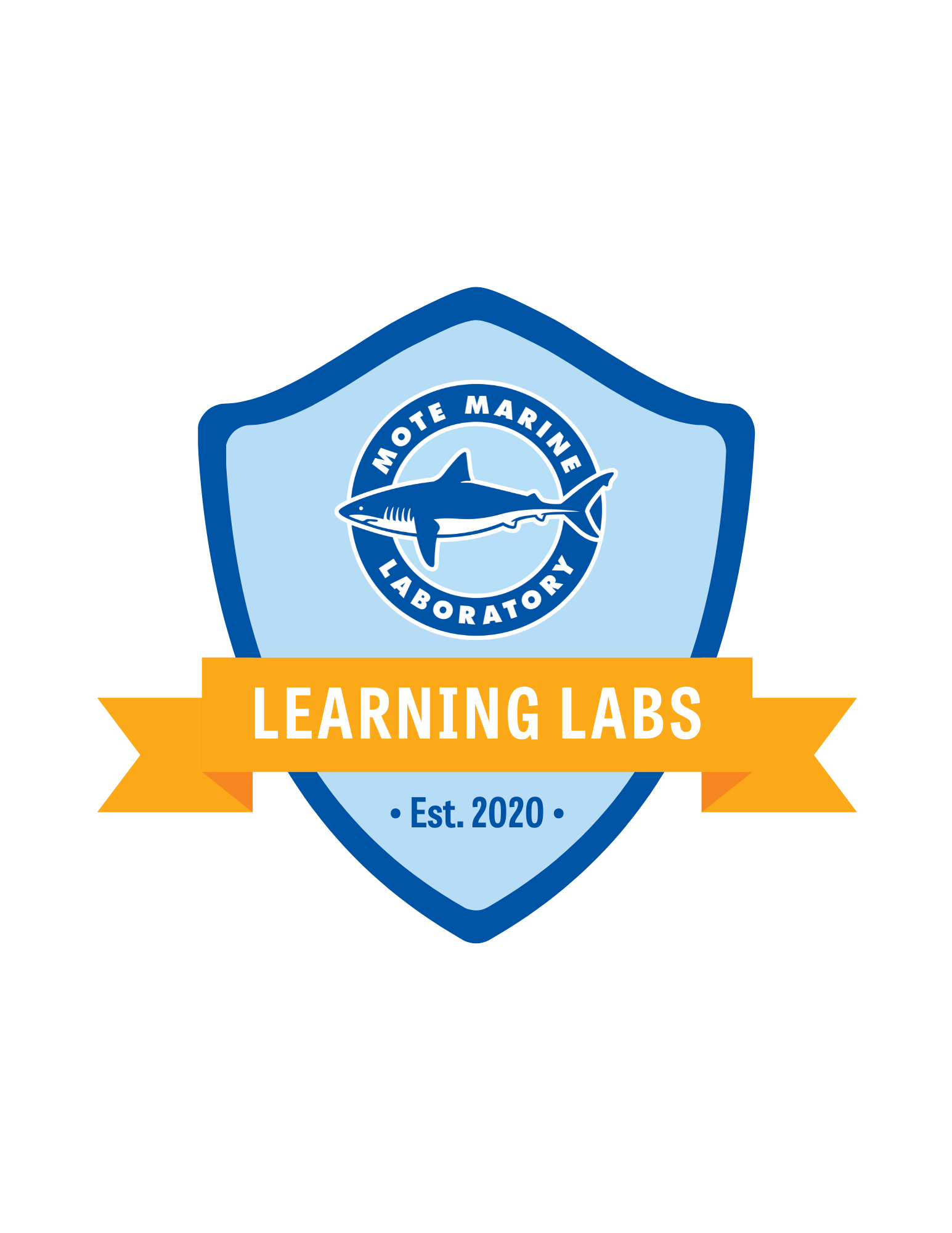 Learning Labs logo, a shield with a sash and the name over it