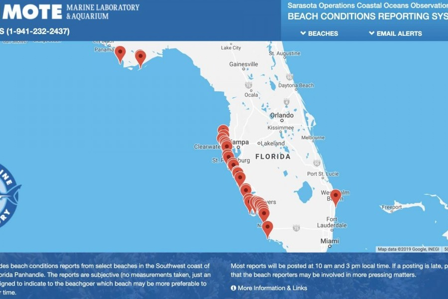 Visitbeaches.org website with markers showing monitored beaches.