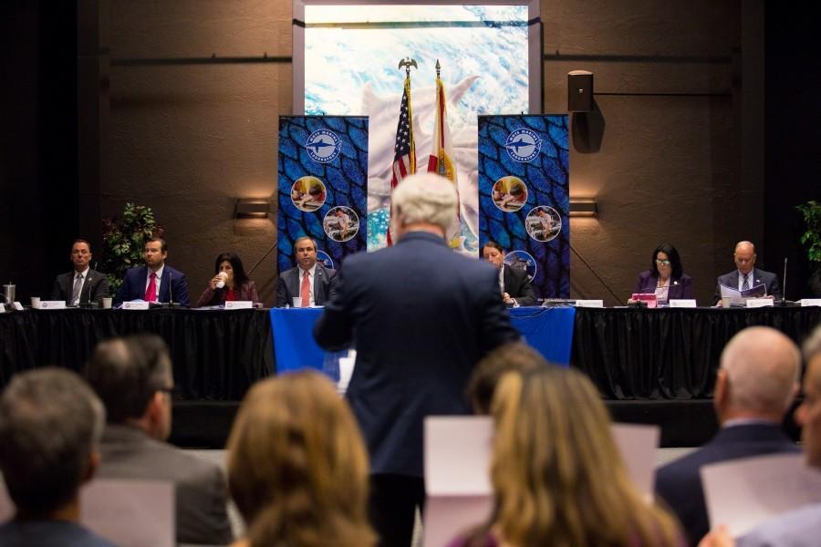 Mote's President & CEO, Dr. Michael P. Crosby, addresses Bay Area legislators. Credit Conor Goulding/Mote Marine Laboratory