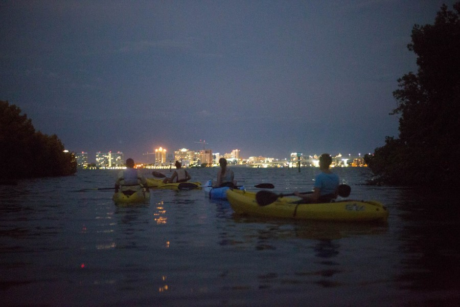 Full Moon Kayak Paddlers exploring Florida's coastal waters at dusk. Photo Credit: Olivia Raney/Mote Marine Laboratory