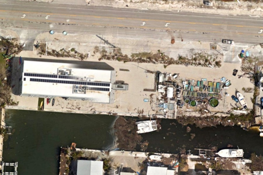 Aerial view of Elizabeth Moore International Center for Coral Reef Research & Restoration (IC2R3) post Irma