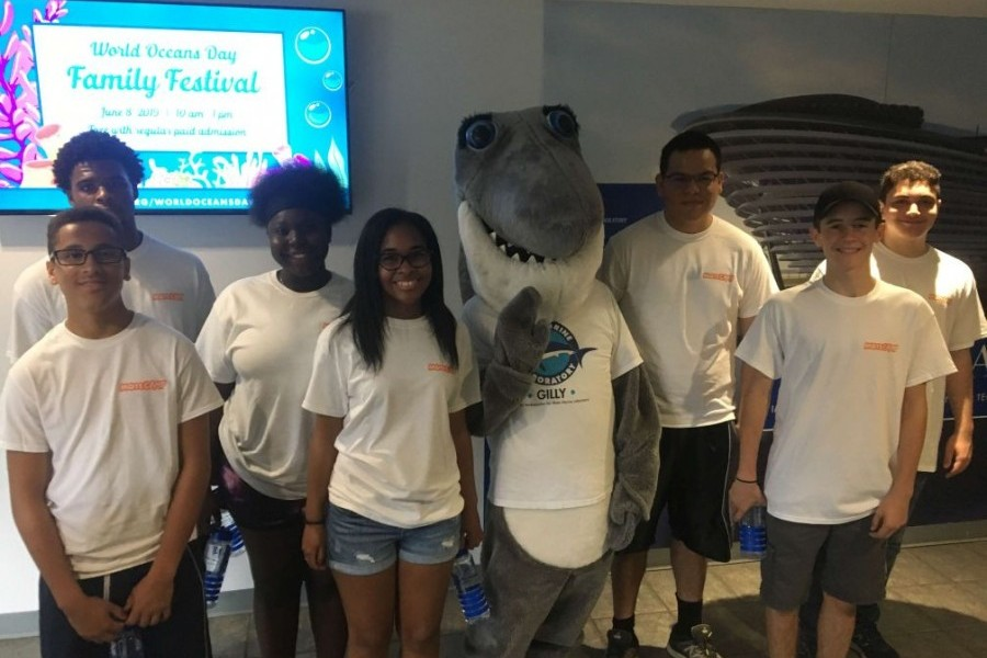 Participants from the new Ocean Guardians program and Gilly the Shark.