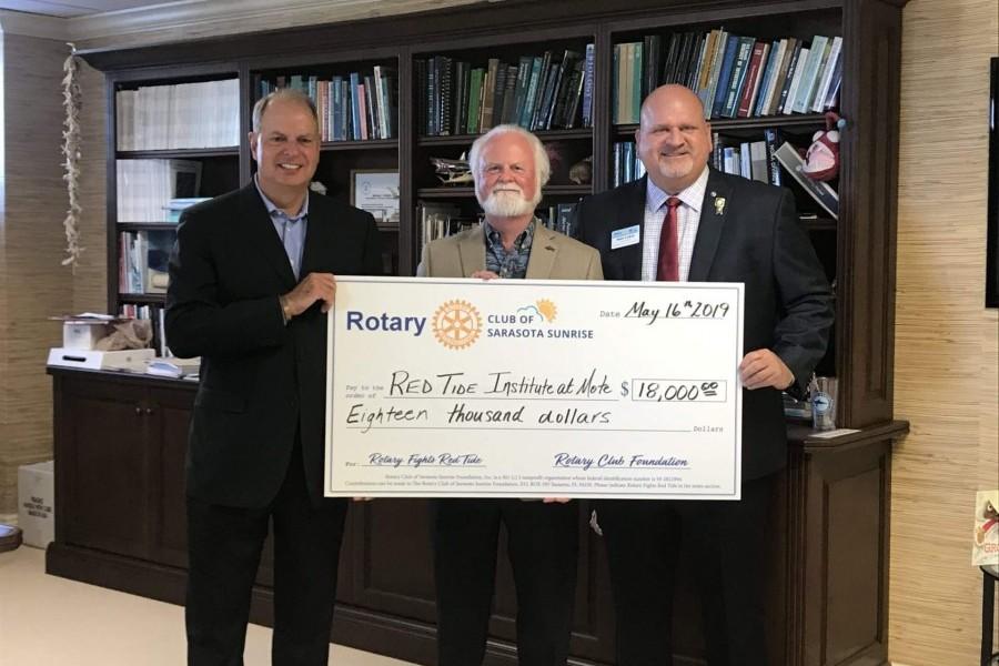 LtoR: Brian Maddox, Stifel; Dr. Michael P. Crosby, Mote; Andy Lyman, Rotary Club of Sarasota Sunrise