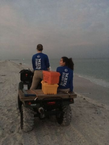 LtoR: Lauren Kabat (Tagging Supervisor) and Taylor Brunson (Tagging intern), patrolling the beach in the morning
