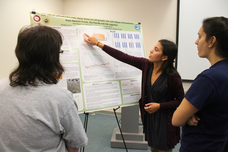 Research Experiences for Undergraduates intern presents her poster at Mote. Credit Conor Goulding/Mote Marine Laboratory