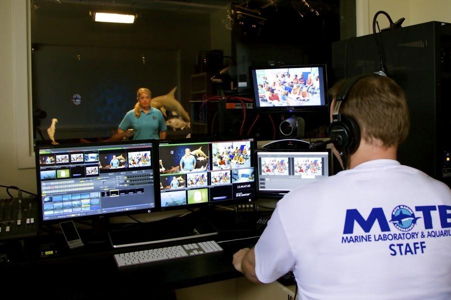 Kasey Gaylord-Opalewski & Jason Robertshaw in SeaTrek.TV's studio. Credit: Mote Marine Laboratory