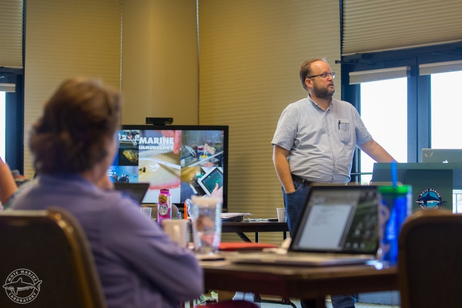 Jason Robertshaw of Mote's Education department shares technology tips during a teacher workshop.