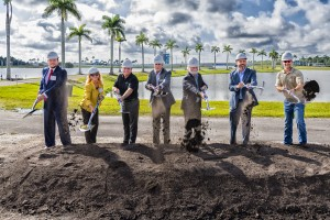 Pictured left to right: Florida Representative James Buchanan, Manatee County Commissioner Vanessa Baugh, Sarasota County Commissioner Mike Moran, Mote Board Chairman Dr. Sam Seider, Mote President/CEO Dr. Michael P. Crosby, Florida Senator Joe Grute