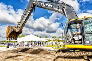 Mote's President & CEO breaks ground at the future home of Mote Science Education Aquarium.