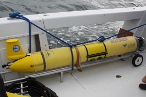 "The AUV ""Genie"" is secured aboard Mote's research vessel and on its way to be tested at sea on Oct. 28, prior to its first mission in November 2015."