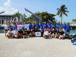 Mote Marine Laboratory staff with members of the Combat Wounded Veteran Challenge and SCUBAnauts International before the mission to restore Florida's coral reef on Monday, July 20, 2015. Photo credit: SCUBAnauts International