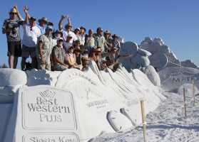 Group shot of sand sculptors