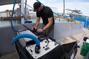 Jason John, Ph.D. candidate at University of California, Santa Cruz, works with an oxygen analyzer and computer during the study of manatee energetic cost. Credit Conor Goulding/Mote Marine Laboratory.