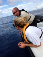 Karen Schanzle of Mote Marine Laboratory holds a hatchling ready for release beside Officer Travis Forrister of the Sarasota Police Department.  (Credit: Sarasota Police Department)