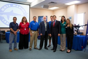 Senator Rubio visited Mote on Feb. 21, 2019. Pictured here with Mote President & CEO Dr. Michael P. Crosby and science staff from a range of Mote programs that study Florida red tide