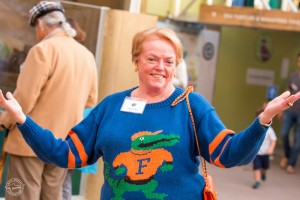 Mote Trustee Judy Graham looks gator-rific at The Teeth Beneath preview